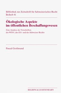 Ökologische Aspekte im öffentlichen Beschaffungswesen   Buch (Cover)