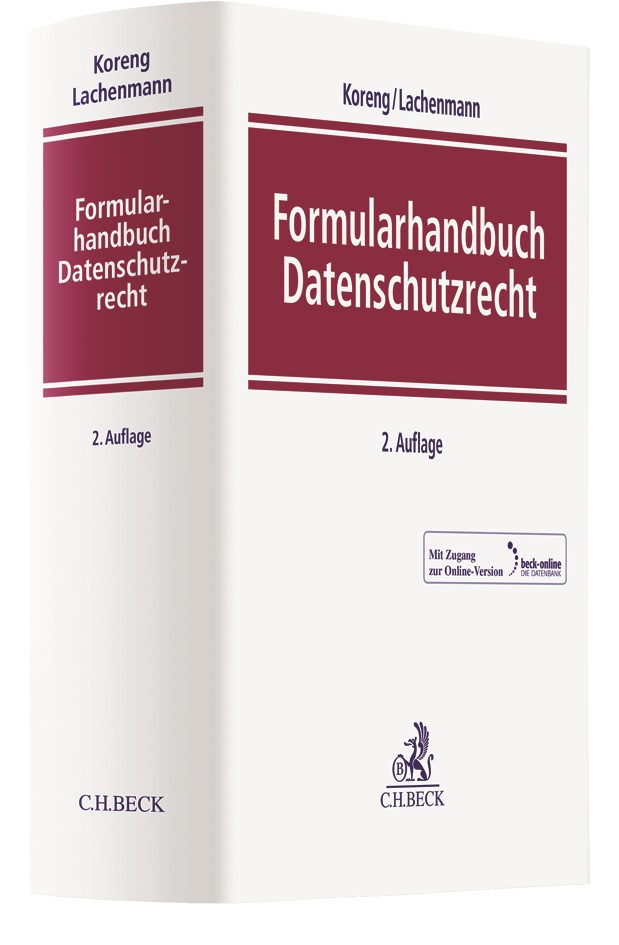Formularhandbuch Datenschutzrecht | Koreng / Lachenmann | 2. Auflage, 2018 (Cover)