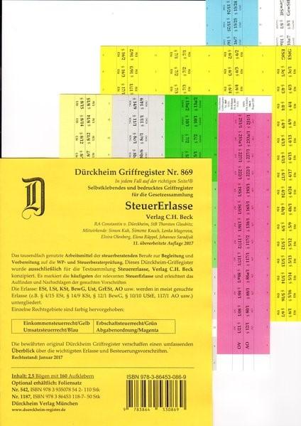 Dürckheim-Register - Steuererlasse | Dürckheim / Glaubitz | 11. Auflage, 2016 (Cover)