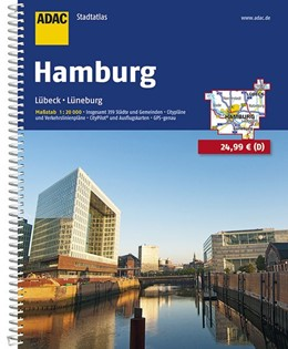 Abbildung von ADAC Stadtatlas Hamburg mit Lübeck, Lüneburg 1:20 000 | 13. Auflage, Laufzeit bis 2020 | 2016 | Lübeck, Lüneburg. Insgesamt 35...
