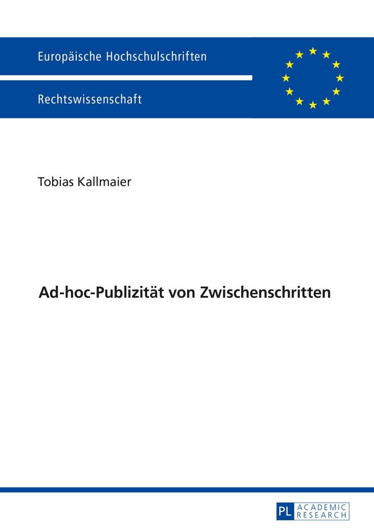 Ad-hoc-Publizität von Zwischenschritten | Kallmaier, 2016 | Buch (Cover)