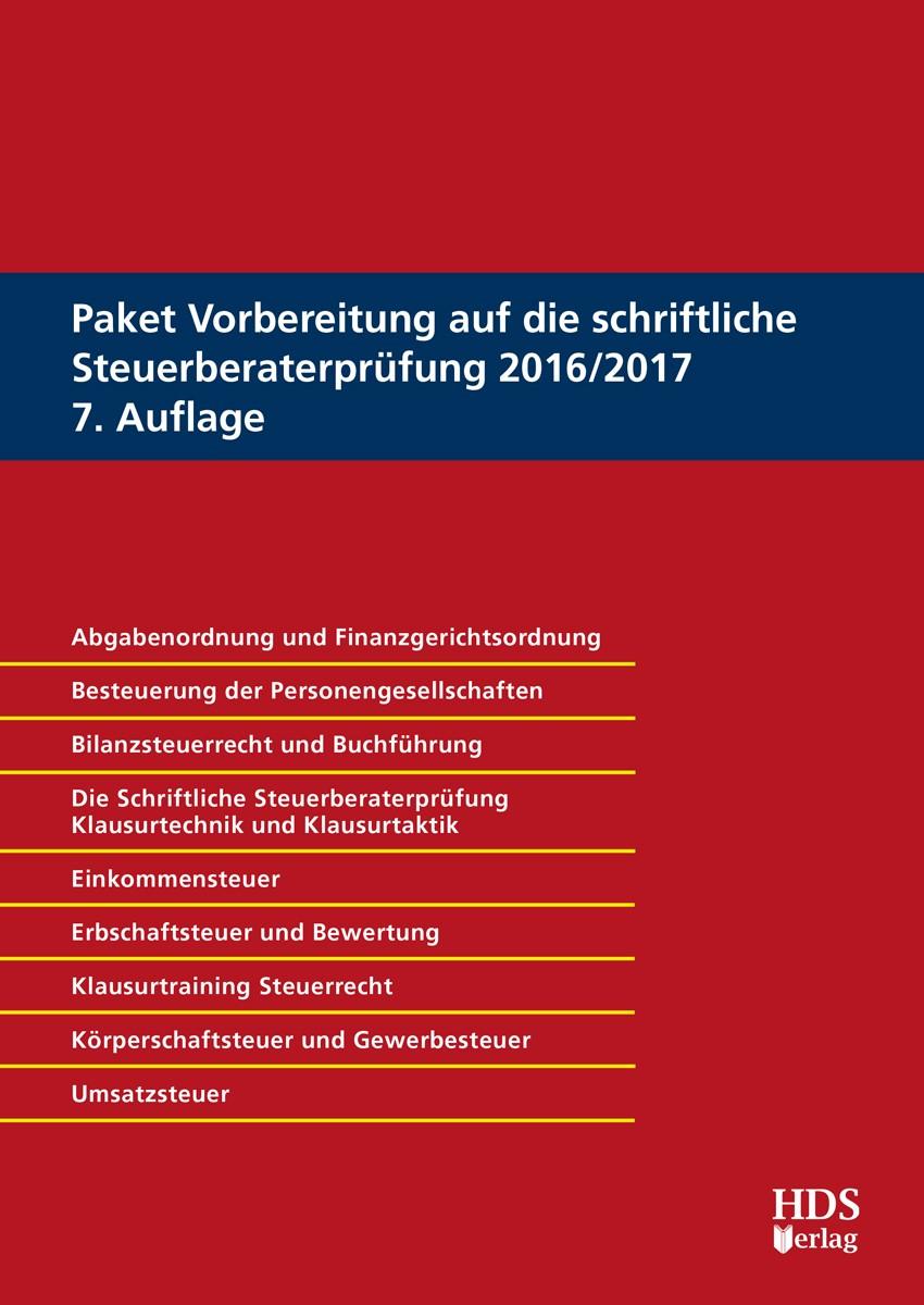 Vorbereitung auf die schriftliche Steuerberaterprüfung 2016/2017 • Set | Buch (Cover)
