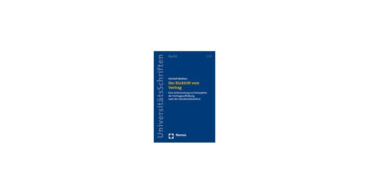 Der Rücktritt Vom Vertrag Muthers 2008 Buch Beck Shopde