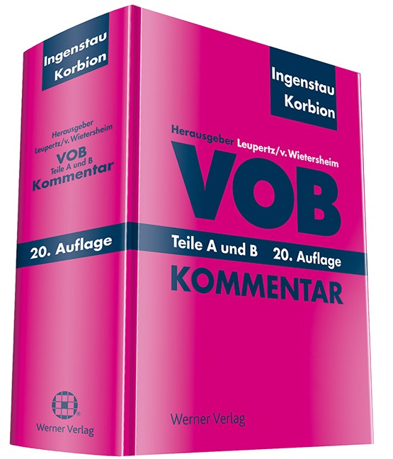 VOB Teile A und B | Ingenstau / Korbion / Leupertz / v. Wietersheim (Hrsg.) | 20. Auflage, 2016 | Buch (Cover)