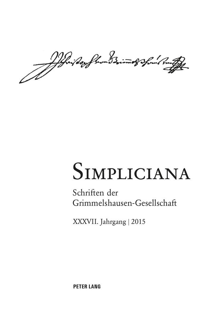 Simpliciana, 2016 | Buch (Cover)