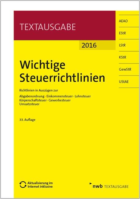 Wichtige Steuerrichtlinien • 2016   Walkenhorst   Buch (Cover)