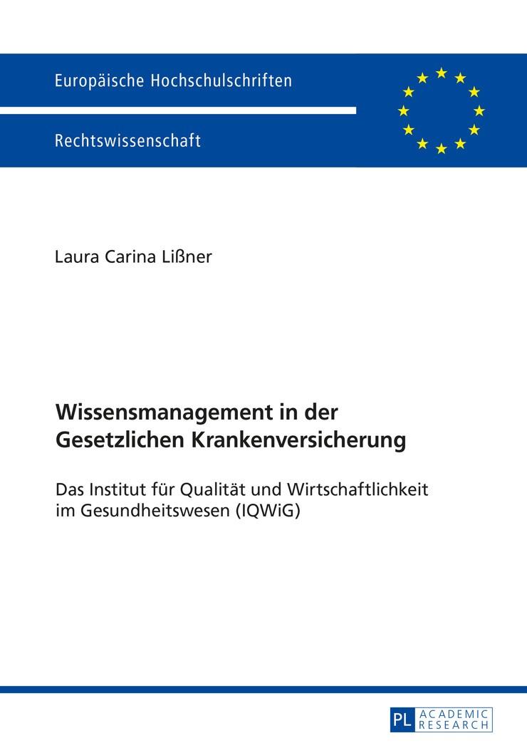 Wissensmanagement in der Gesetzlichen Krankenversicherung | Lißner, 2016 (Cover)