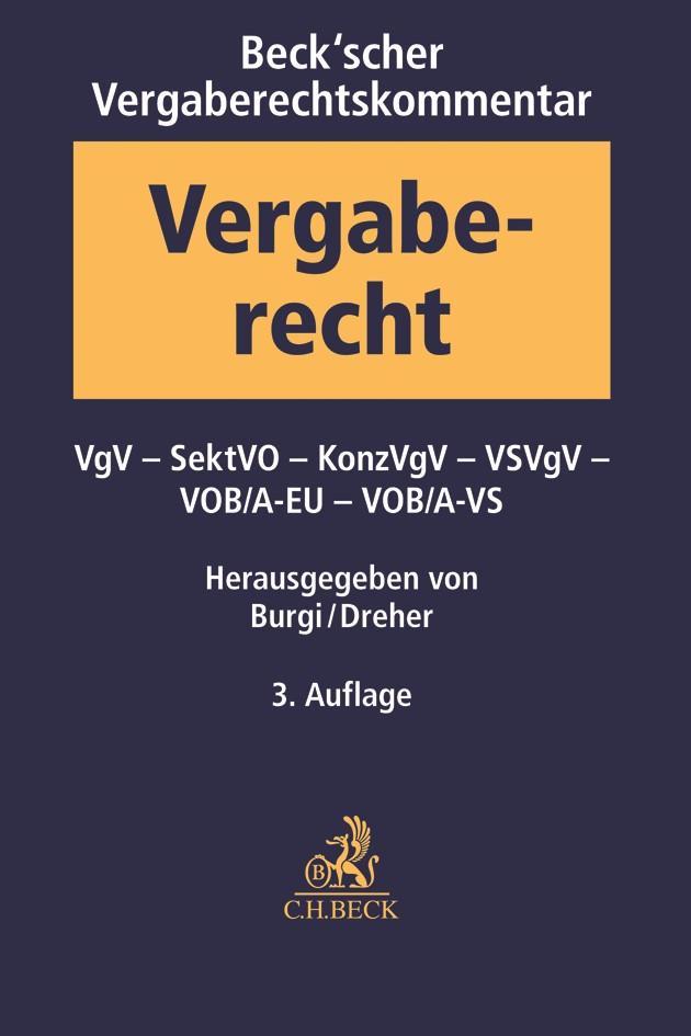 Beck'scher Vergaberechtskommentar, Band 2: VgV, SektVO, VSVgV, KonzVgV, VOB Teil A | 3. Auflage, 2018 | Buch (Cover)