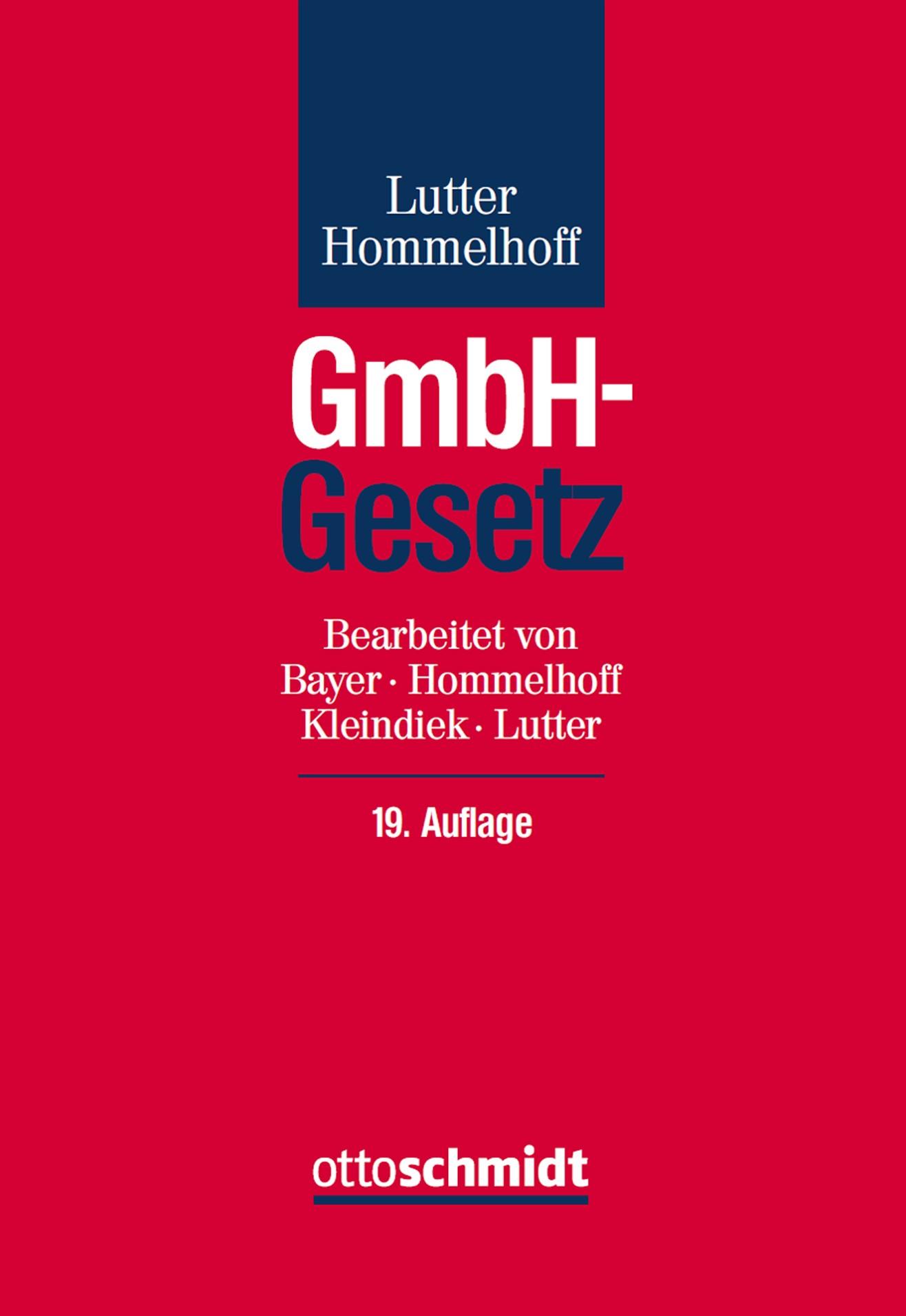 GmbH-Gesetz | Lutter / Hommelhoff | 19., neu bearbeitete Auflage, 2016 | Buch (Cover)