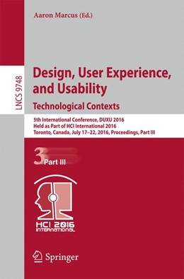Abbildung von Marcus | Design, User Experience, and Usability: Technological Contexts | 1st ed. 2016 | 2016 | 5th International Conference, ... | 9748