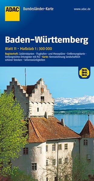 Abbildung von ADAC BundesländerKarte Deutschland 11. Baden-Württemberg 1 : 300 000 | 4. Auflage, Laufzeit bis 2020 | 2016