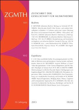 Abbildung von Polth / Froebe / Sprick / Rohringer   ZGMTH - Zeitschrift der Gesellschaft für Musiktheorie, 10. Jahrgang 2013.   2016   2016   Ausgabe 1: Brahms. Hrsg. von S...   10
