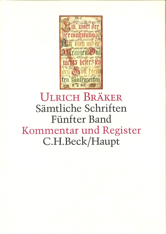 Sämtliche Schriften, Band 5: Kommentar und Register | Bräker, Ulrich, 2014 | Buch (Cover)