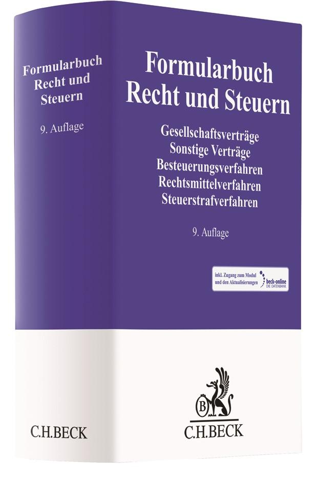 Formularbuch Recht und Steuern | 9., neu bearbeitete und erweiterte Auflage, 2017 (Cover)