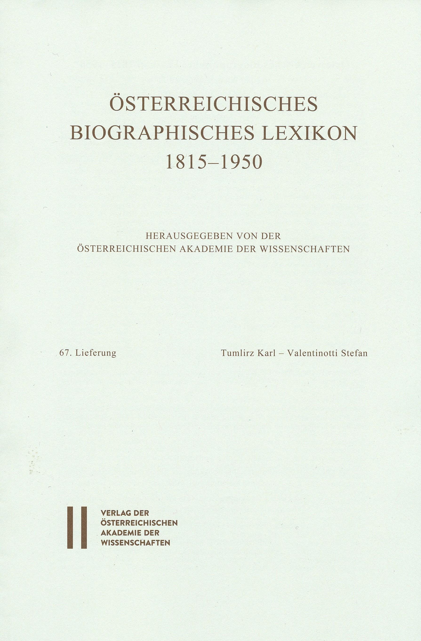 Österreichisches Biographisches Lexikon 1815-1950 / Österreichisches Biographisches Lexikon 1815-1950 Lieferung 67, 2016 | Buch (Cover)