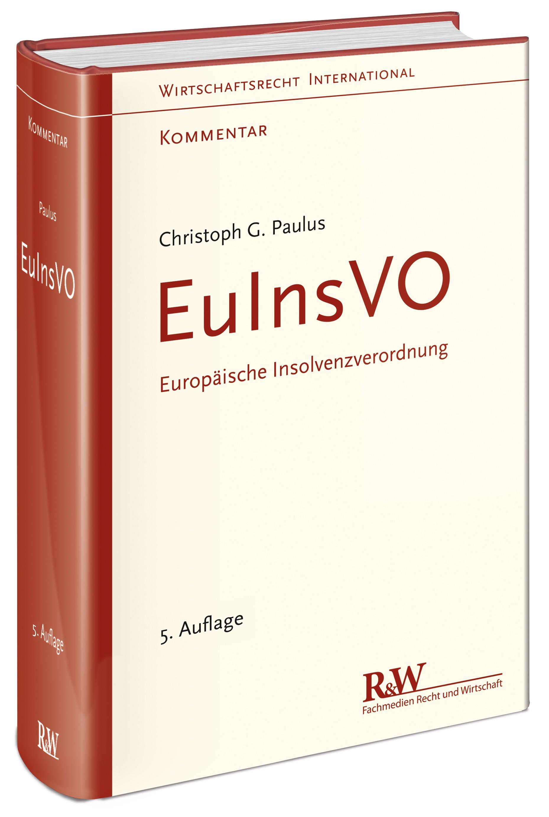 EuInsVO - Europäische Insolvenzverordnung | Paulus | 5., umfassend neu bearbeitete Auflage, 2017 | Buch (Cover)