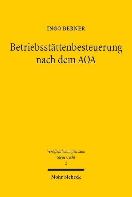 Betriebsstättenbesteuerung nach dem AOA   Berner, 2016   Buch (Cover)