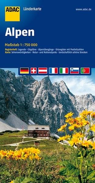 ADAC LänderKarte Alpen 1 : 750 000 | 9. Auflage, 2016 (Cover)