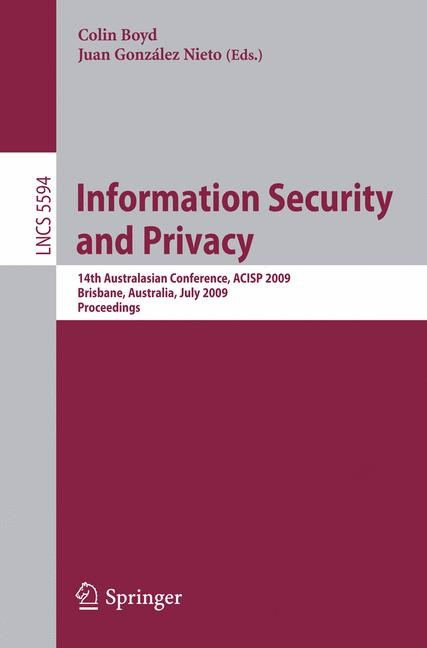 Information Security and Privacy | Boyd / González Nieto, 2009 | Buch (Cover)