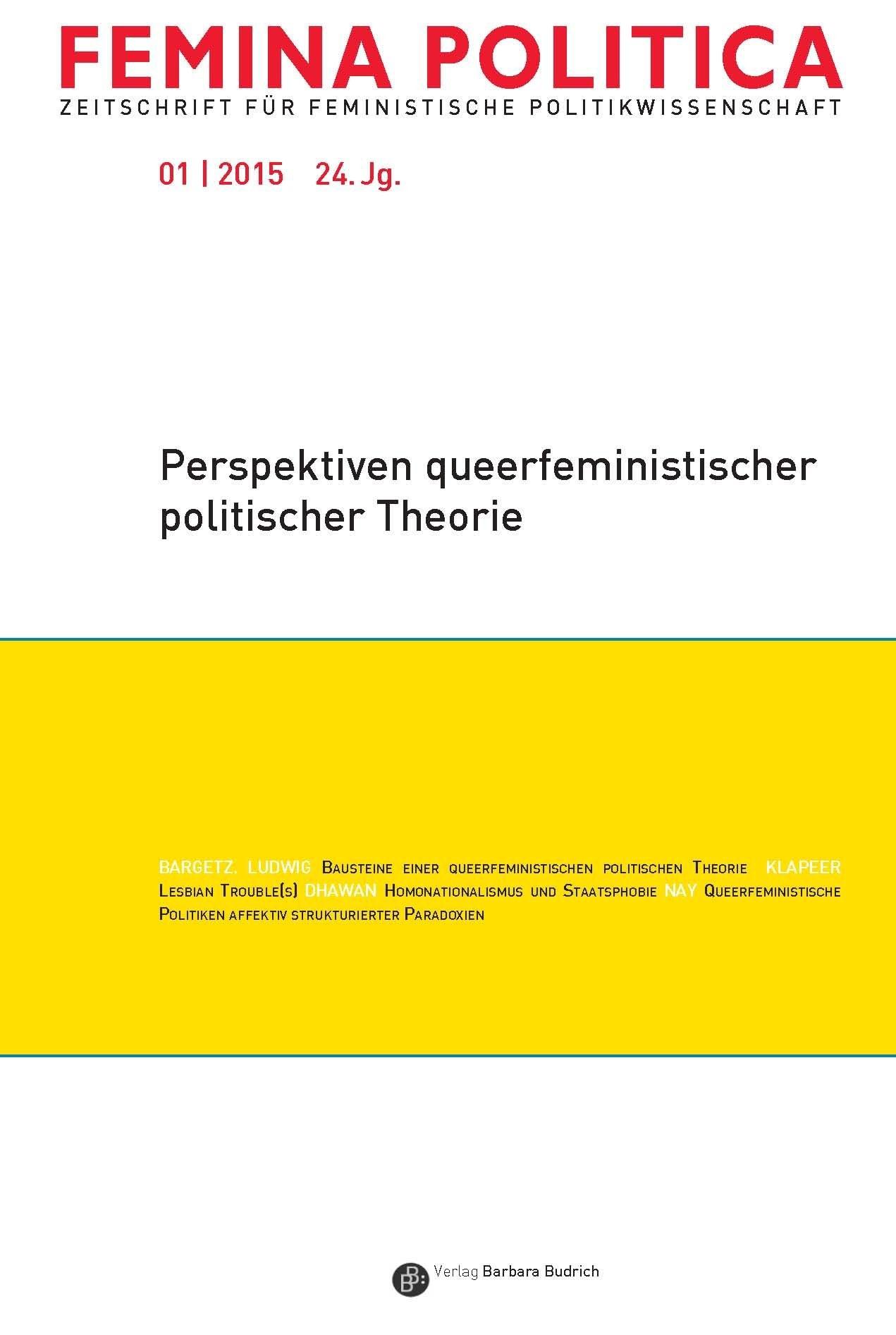 Femina Politica 1/2015   Abels / Ahrens / Bargetz, 2015   Buch (Cover)