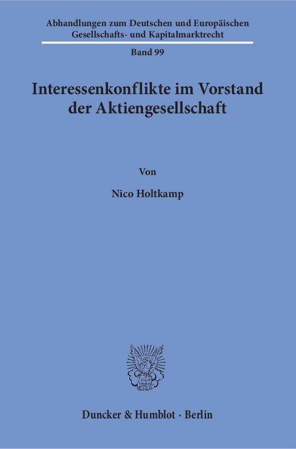 Abbildung von Holtkamp   Interessenkonflikte im Vorstand der Aktiengesellschaft   2016