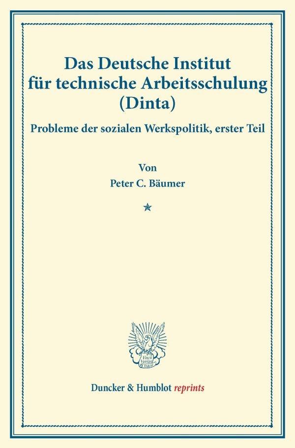 Abbildung von Bäumer / Briefs | Das Deutsche Institut für technische Arbeitsschulung (Dinta). | 2016