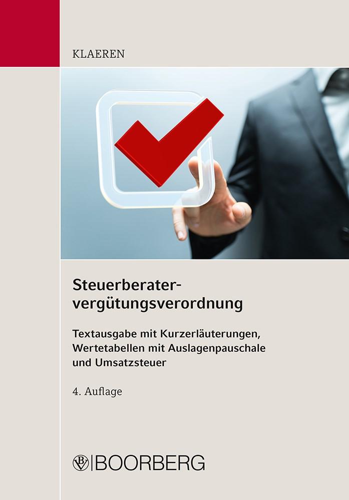 Abbildung von Klaeren   Steuerberatervergütungsverordnung   2016
