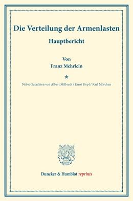Abbildung von Mehrlein / Milbradt / Hopf | Die Verteilung der Armenlasten. | 2016 | Hauptbericht. – Nebst Gutachte...