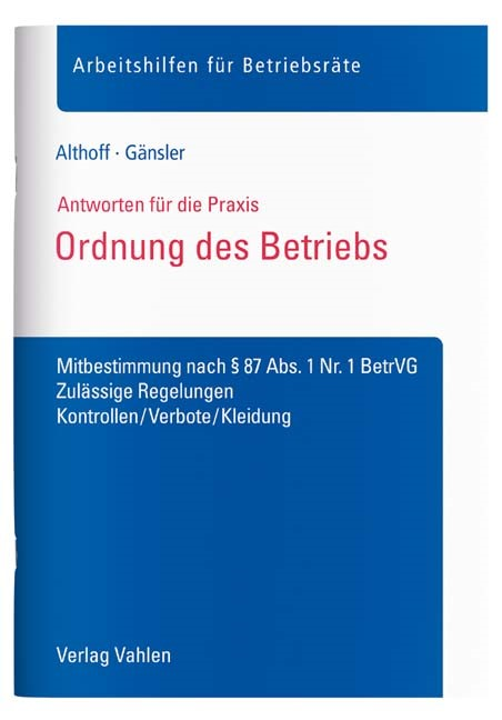 Ordnung des Betriebs | Althoff / Gänsler, 2017 | Buch (Cover)