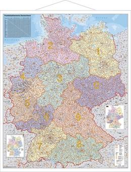 Abbildung von Postleitzahlen-Karte Deutschland 1 : 750 000. Wandkarte Grossformat mit Metallstäben | 2014 | Laminiert, bescreib- und abwis...