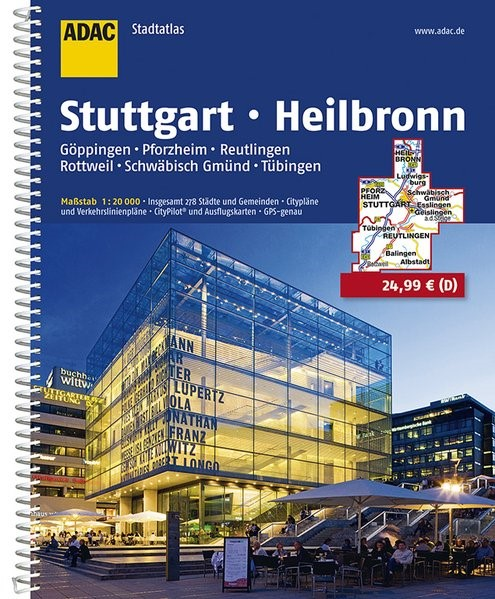 ADAC StadtAtlas Stuttgart, Heilbronn 1:20 000 | 11. Auflage, Laufzeit bis 2020, 2016 | Buch (Cover)