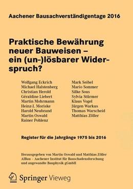 Abbildung von Oswald / Zöller | Aachener Bausachverständigentage 2016 | 1. Auflage | 2016 | beck-shop.de