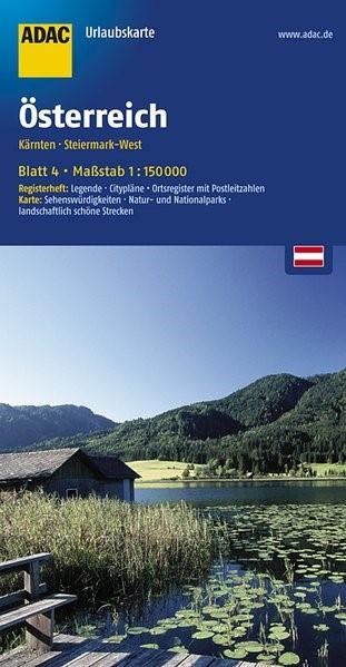 ADAC UrlaubsKarte Österreich 04. Kärnten, Steiermark-West 1 : 150 000 | 5. Auflage, Laufzeit bis 2021, 2016 (Cover)