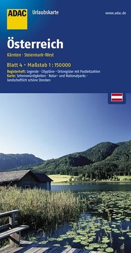 Abbildung von ADAC UrlaubsKarte Österreich 04. Kärnten, Steiermark-West 1 : 150 000 | 5. Auflage, Laufzeit bis 2021 | 2016 | Register: Legende, Citypläne, ...