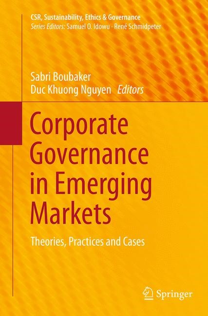 Corporate Governance in Emerging Markets | Boubaker / Nguyen | Softcover reprint of the original 1st ed. 2014, 2016 | Buch (Cover)
