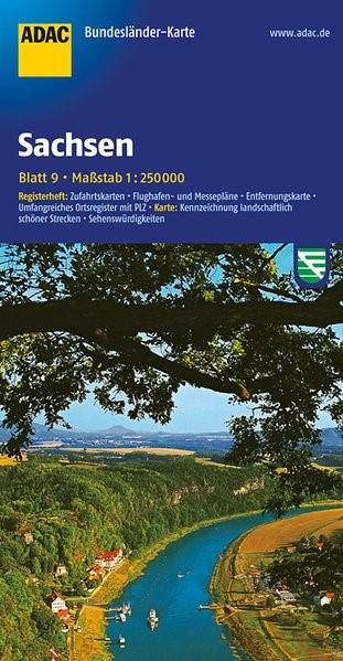 ADAC BundesländerKarte Deutschland 09. Sachsen 1 : 250 000 | 4. Auflage, 2018 (Cover)