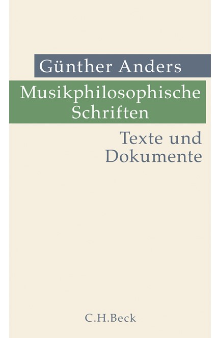 Cover: Günther Anders, Musikphilosophische Schriften