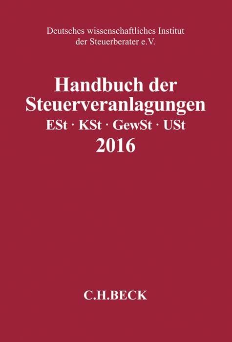 Handbuch der Steuerveranlagungen 2016, 2017 | Buch (Cover)