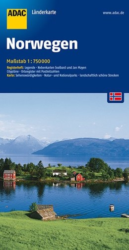 Abbildung von ADAC LänderKarte Norwegen 1 : 750 000 | 11. Auflage | 2016 | Register: Legende, Nebenkarten...