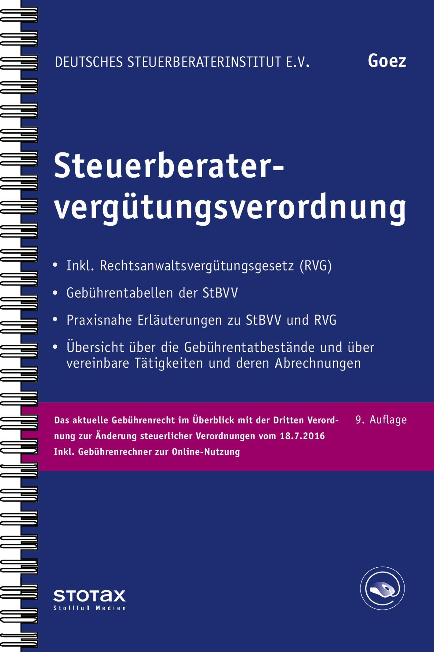 Steuerberatervergütungsverordnung | Goez | 9. Auflage, 2016 (Cover)