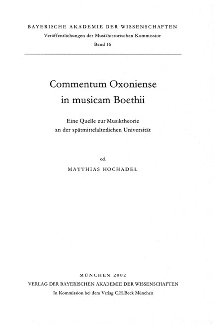 Cover: , Commentum Oxoniense in musicam Boethii