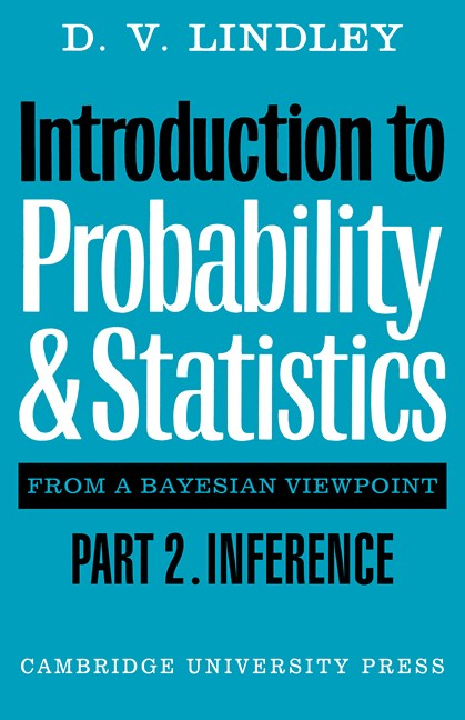 Abbildung von Lindley | Introduction to Probability and Statistics from a Bayesian Viewpoint, Part 2, Inference | 1980