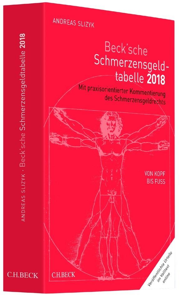 Beck'sche Schmerzensgeld-Tabelle 2018 | Slizyk | 14., überarbeitete und aktualisierte Auflage, 2017 (Cover)