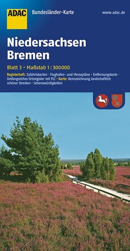 Abbildung von ADAC BundesländerKarte Deutschland 03. Niedersachsen und Bremen 1 : 300 000   4. Auflage. Laufzeit bis 2021   2016   Registerheft: Zufahrtskarten -...