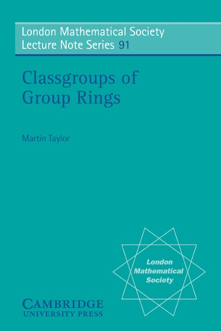 Abbildung von Taylor | Classgroups of Group Rings | 1984