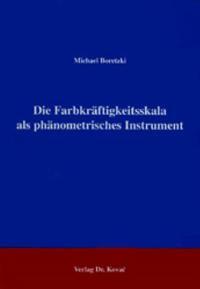 Die Farbkräftigkeitsskala als phänometrisches Instrument | Boretzki, 1996 | Buch (Cover)