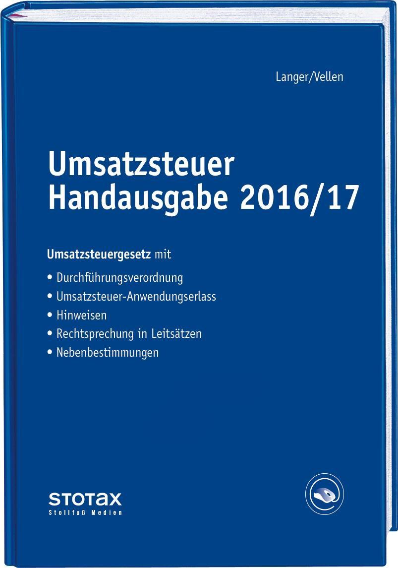 Umsatzsteuer Handausgabe 2016/17 | Langer / Vellen, 2017 | Buch (Cover)