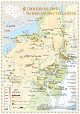Bourbon-Rye-Whiskey Distilleries in New York-Pennsylvenia - Tasting Map  24x34cm