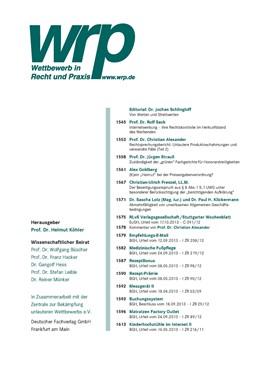 Abbildung von WRP - Wettbewerb in Recht und Praxis | 65. Jahrgang | 2019