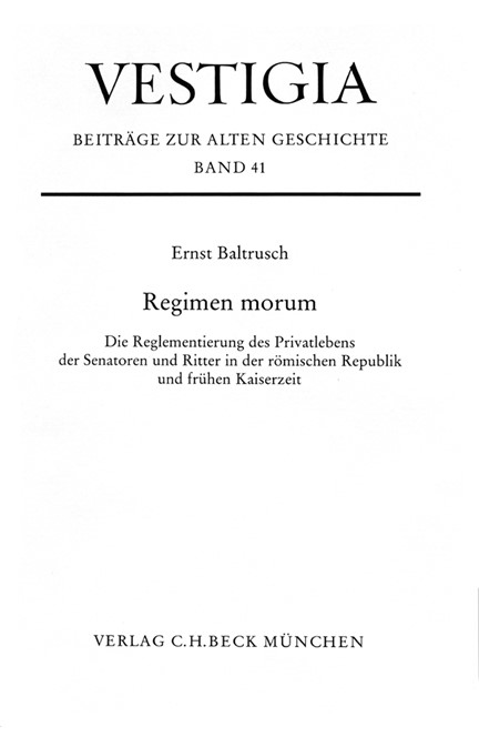 Cover: Ernst Baltrusch, Regimen morum